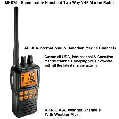 Uniden MHS75 - Submersible Handheld Two-Way VHF Marine Radio & Quad Watch Plus