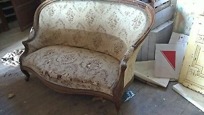 French  Louis XVl  sofa with carved wood frame