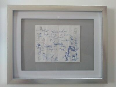 """Untitled Original Drawing Ink On Paper Mixed Media Silver Framed  9.5"""" X 7.5"""""""