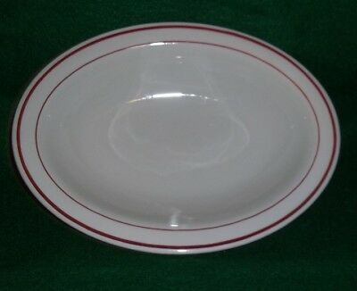 Buffalo China Niagara Red Stripe 6 1/4 inch Oval serving Bowl - New old Stock