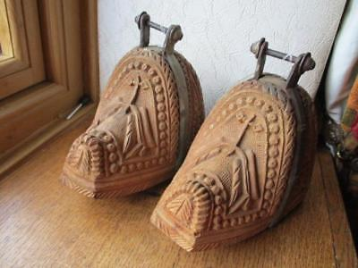 Antique Pair Carved Wood & Iron Horse Stirrups Poss Spanish or South American