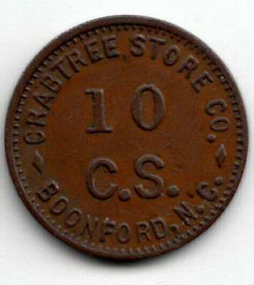 Boonford N.C. token - Crabtree Store Co - 10c trade - Mitchell Co North Carolina