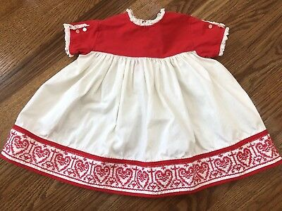 Vintage 50's Baby Girl Nannette Valentines Day Hearts Dress 12-18 Mos