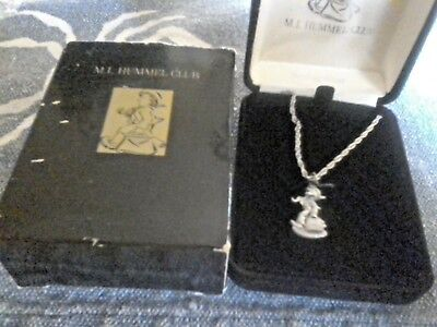 Vintage M.i. Hummel Club Sterling Silver Merry Wanderer Charm Necklace In Box 90