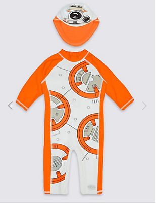 BNWT M&S Boys Star Wars BB-8 All In One UV Sun Protection Suit & Hat 18-24 Month