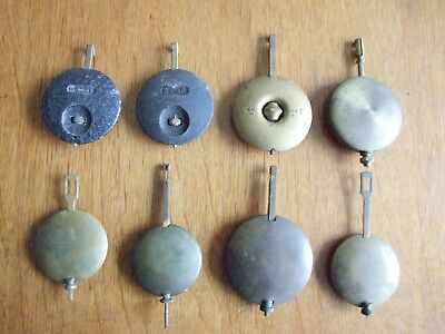 Job lot of eight vintage mantel clock pendulums including Smiths etc . Parts