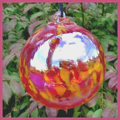 """Hanging Glass Ball 4"""" Clear Glass with Red and Yellow Specks (1) HB32"""