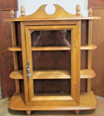 Vintage Wood Curio Cabinet~Miniatures Collectible Wall Hanging Display Shelf