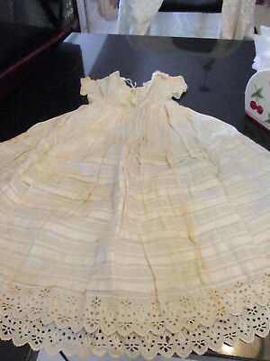 ANTIQUE/VINTAGE LONG BABY or DOLL CHRISTENING DRESS/GOWN with EYELET LACE