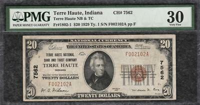 1929 $20 Terre Haute National Bank & Trust Co. Indiana - PMG Very Fine VF 30 C2C