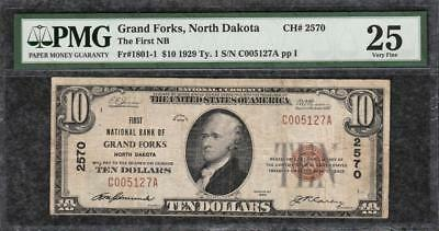 1929 $10 First National Bank of Grand Forks North Dakota PMG Very Fine VF 25 C2C