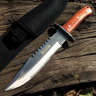 "11.25"" Full Tang Serrated Blade Silver & Wood Tactical Hunting Knife with Sheath"
