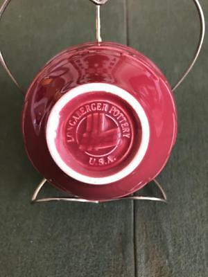 Longaberger Pottery Dessert Berry Bowl Paprika Red Woven Pattern Made in USA