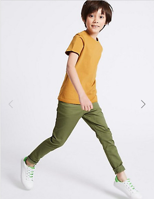 BNWT M&S Boys Khaki Green Chino Trousers Age 14-15 Years Short Leg