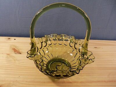 Fenton Olive Colonial Green Glass Basket w/ Thumbprint Design