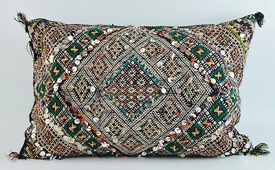 Moroccan Vintage Kilim Carpet Cushion Cover Sequins Berber Pillow Handmade