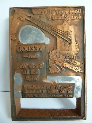 """Antique Veedol Oil Company Flying A Copper Newspaper Ad Printing Plate 4""""x6"""""""