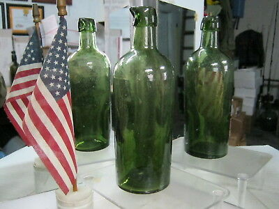 *museum Quality* Pontiled Black Olive Green Glass 1850's~New England Ink