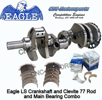 LS 5.3 Stroker Crank 363 Eagle Crankshaft Forged, 4.000, 24T with Bearings