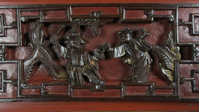 Certified Antique Chinese carved wood panel board Zhejiang Orig Lacquer, OCT3