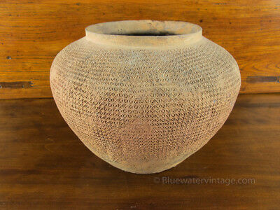 Fine Ancient Chinese Mingqi Tomb Pottery Jar Warring States, cloth pattern OCT31
