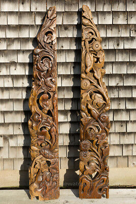 Large pair antique Chinese carved architectural decorations Shanxi Pine OCT67