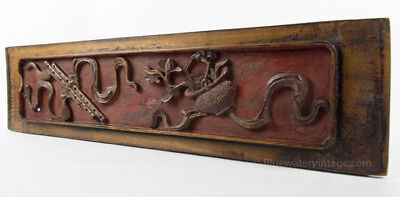 Certified Antique Chinese carved wood panel board Zhejiang Orig Lacquer, OCT1