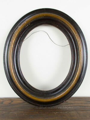 Antique Victorian small oval solid wood frame 1800's beautiful moulding FR10