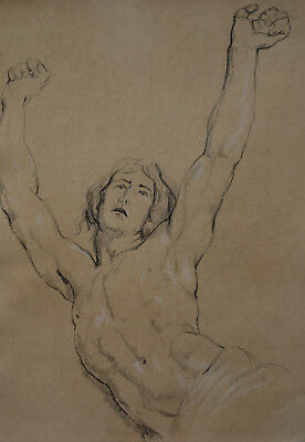 Antique Old Master drawing, Figure study , Charcoal & chalk, Fine art museum