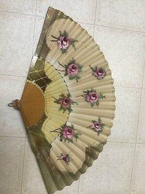 Antique Wood & Paper Hand-Painted Folding Fan