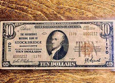 1929 10$ Note From The Housatonic National Bank Of Stockbridge Mass. RARE! LOOK!