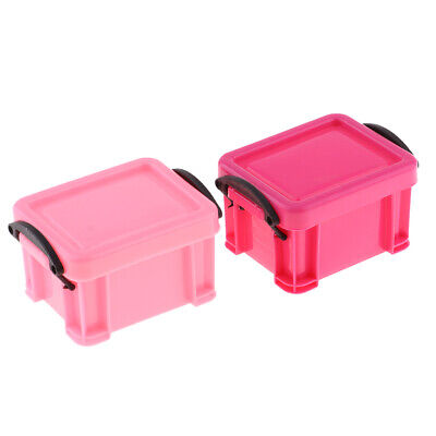 1/6 Candy Color Storage Case for 1/6 Dolls House Furniture Accessory Pink