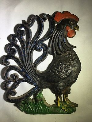 Vintage Cast Iron Roosters Wall Hanging Decor Mid-Century Chicken Farm House