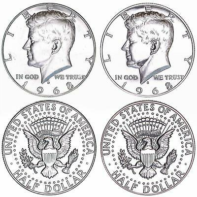 1968 D S  Kennedy Half Dollar Year Set 40% Silver Proof & BU US 2 Coin Lot
