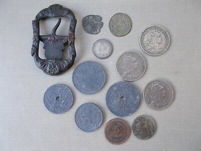 PORTUGAL Metal Detector Detecting Finds Lot Coins + Buckle Medieval RARE