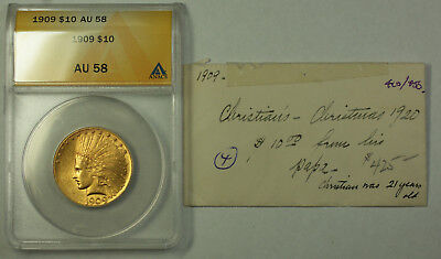 1909 Indian Gold Eagle Ten Dollar $10 Coin ANACS AU-58 JMX
