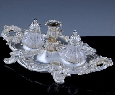 Exquisite 1842 Victorian Rococo English Sterling Silver Cut Glass Double Inkwell