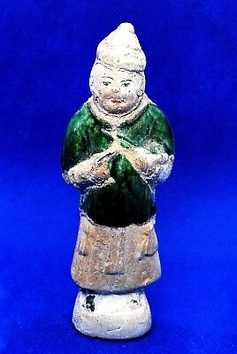 Ming Dynasty Chinese Terracotta Glazed Tomb Attendent Figure