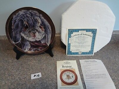 "Bradford Exchange Vivi Crandall Bunny Tales Lop Rabbit Plate ""Sweet Cheeks"" 12th"