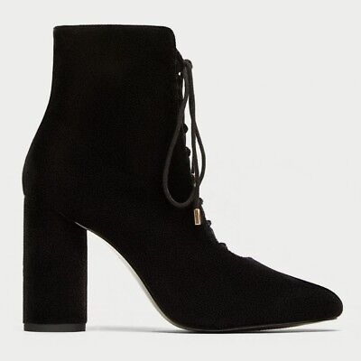 d693dcfa245 ZARA LACE UP Velvet High Heel Black Ankle Boots Size 37 Victorian ...