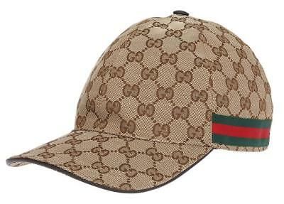 NEW GUCCI BEIGE Gg Guccissima Canvas Web Detail Baseball Cap Hat 56 ... c3fb8a25744c