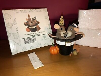 """Charming Tails """"THANKFUL FOR YOUR FRIENDSHIP""""  DEAN GRIFF NIB THANKSGIVING HAT"""