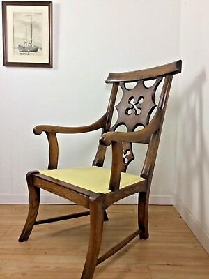 RARE ANTIQUE C 1700's GEORGIAN CHIPPENDALE CARVED ASH COUNTRY ARM CHAIR CARVER