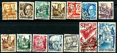 Germany Wurttemberg 1948 Issues Complete Set of 14 Used Scott's 8N14 to 8N27