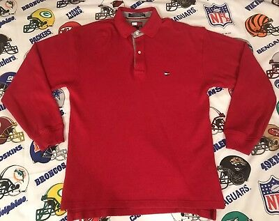 d5f0905fc33 Vtg 90s Tommy Hilfiger Embroidered Flag Mens L/S Rugby Polo Shirt Sz Small  B4