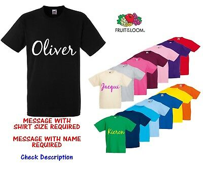 Personalised Custom Fruit of the Loom TShirt Tee Shirt Any Name or Text Bespoke