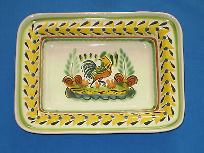 """GORKY GONZALEZ Mexican Majolica HandPainted Rectangular ROOSTER Bowl Dish 11x8"""""""