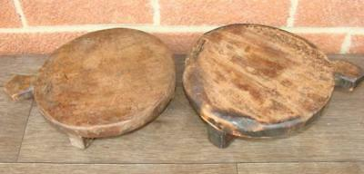 Pr. Antique / Primitive Folk Art Hand Carved Wood Trivets