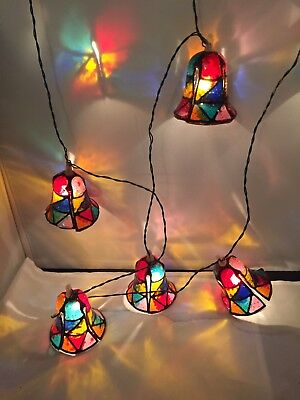 Vintage Stained  Glass Plastic Bell String Lights Made In Italy RARE Beauty