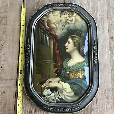 Antique Color Tinted Print in Lovely Convex Curved Glass Vintage Frame Roses